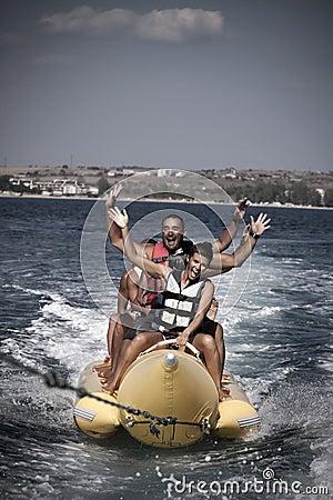 Water funnny sports-banana. Editorial Image