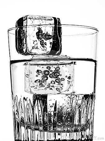 Water, Glass and Ice Cubes