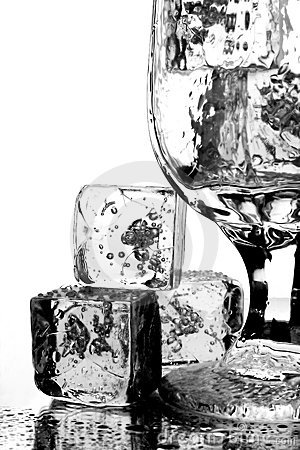 Water Glass and Ice Cubes