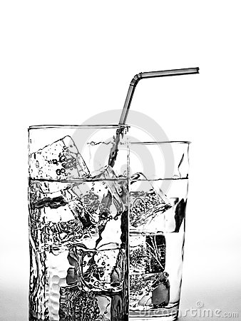 Water Glass,Ice Cubes & Straw