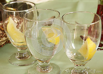 Water Glasses with Lemon