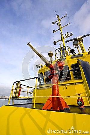 Water gun on a fire boat