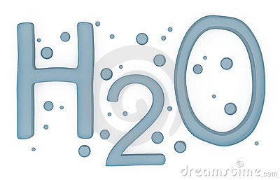 Water H2O Sign isolated on white