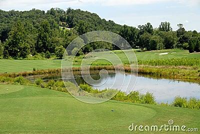 Water hazard on golf course