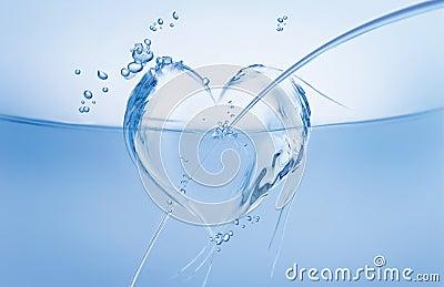 Water Heart in Wave