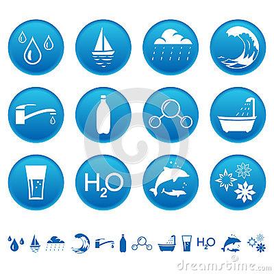 Free Water Icons Royalty Free Stock Photo - 26062225