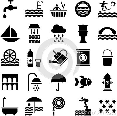 Free Water Icons Royalty Free Stock Images - 28567289