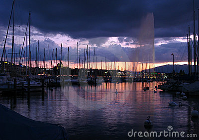 Water Jet in Geneva at twilight 02, Switzerland