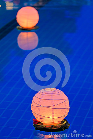 Water lantern in the pool