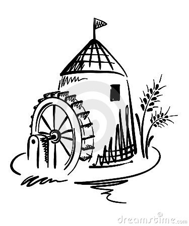 Graphic illustration -- Water Mill with spike.