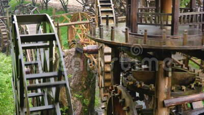 Water Mills In China. Many water wheels work as a team spinning the mill, in the Zhangjiajie historical Park, China stock video
