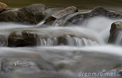 Water over rocks in the stream