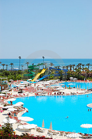 Water park and swimming pool at popular hotel