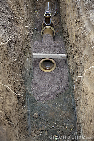 Water pipes in ditch