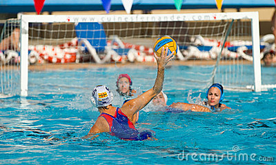 Water polo player shooting Editorial Photo