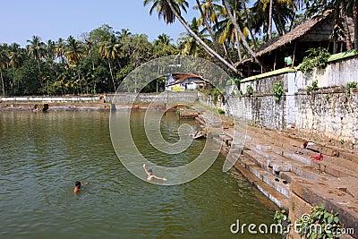 Water pool near the hindu temple Editorial Stock Image