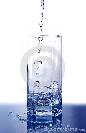 Water poured into glass