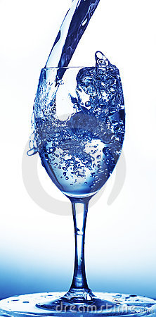 Water poured into wineglass
