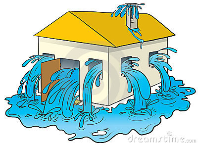 Water pouring out of a house