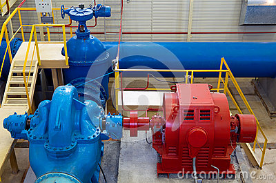 Water pumping station, industrial interior