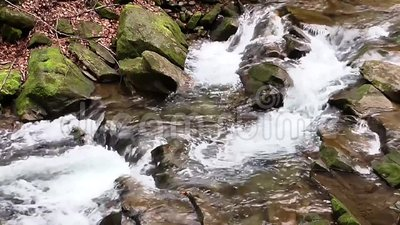 Water rapid. Ly moving over stones in river stock video