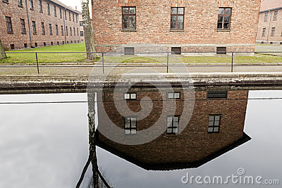 Water reflection at Auscwitz concentration camp Editorial Stock Image