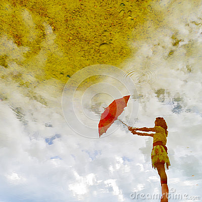 Water reflection and red umbrella woman