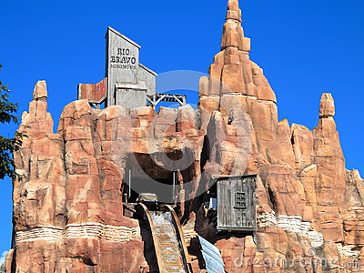 Log flume ride at mountain top Editorial Image