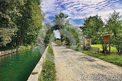 Water and road in the canavese countryside