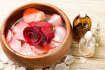 Water with rose petals