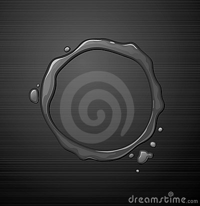 Water round frame on metal texture background