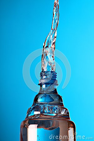 Water runs out of plastic bottle
