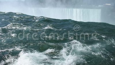 Horseshoe Falls in Niagara, NY -01. Water rushing over Horseshoe Falls, one of the two large waterfalls between the USA and Canada at Niagara. It is on the stock video