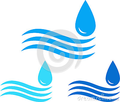 Water sign set with wave and drop