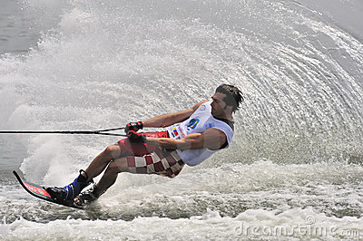 Water Ski In Action: Man Slalom Editorial Photo