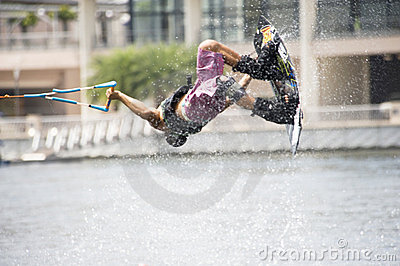 Water Ski In Action: Man Wakeboard Tricks Editorial Photo