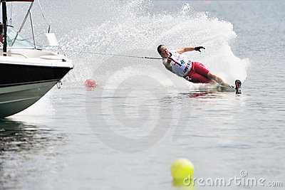 Water Ski In Action: Woman Slalom Editorial Photography