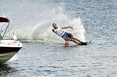 Water Ski World Cup 2008 In Action: Man Slalom Editorial Stock Photo