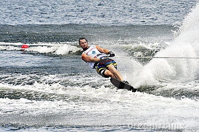 Water Ski World Cup 2008 In Action: Man Slalom Editorial Photography