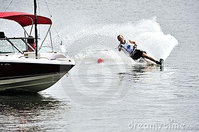 Water Ski World Cup 2008 In Action: Woman Slalom Editorial Stock Photo
