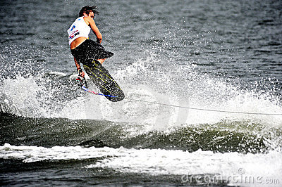 Water Ski World Cup 2008: Man Shortboard Tricks Editorial Photo