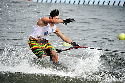 Water Ski World Cup 2008: Man Shortboard Tricks Editorial Stock Image