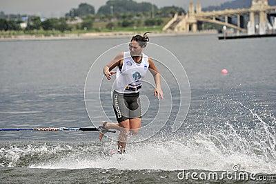 Water Ski World Cup 2008: Woman Shortboard Tricks Editorial Photography