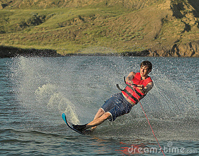 Water skier on lake
