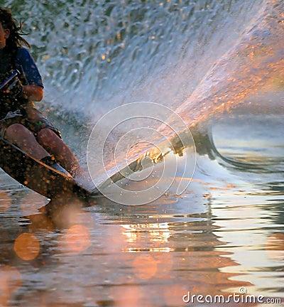 Free Water Skier Wake Royalty Free Stock Photos - 828608