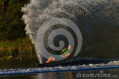 Water Skiing Athlete Water Spray Editorial Stock Image
