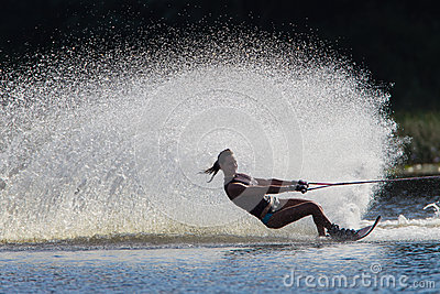 Water Skiing Girl Black White  Editorial Stock Photo