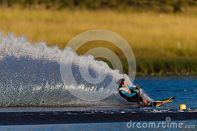 Water Skiing Girl Carving Spray Editorial Stock Photo