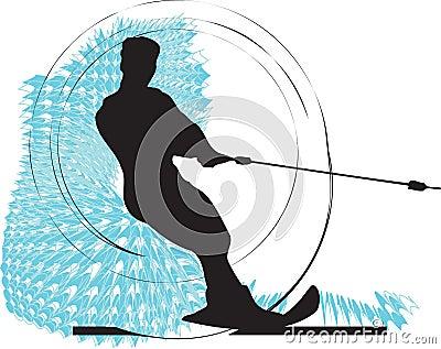 Water skiing man illustration.