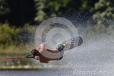Water Skiing Tricks  Athlete Roll Editorial Photo